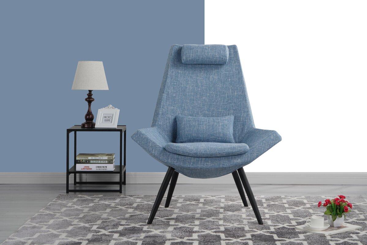 Wrought Studio Sease Modern Linen Living Room Lounge Chair & Reviews ...