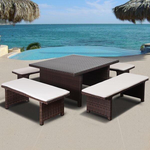 Tuten International Home Outdoor 5 Piece Dining Set with Cushions by Highland Dunes