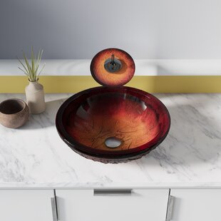 Shop For Red Lava Glass Circular Vessel Bathroom Sink By MR Direct