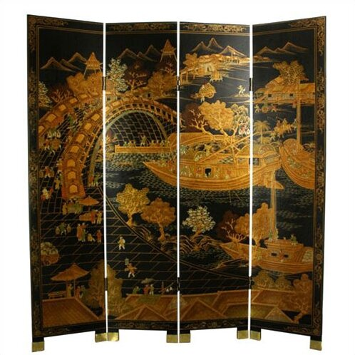 "72"" x 64"" Ching Ming Festival 4 Panel Room Divider"