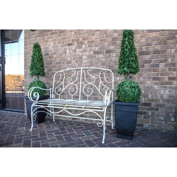Stephen Distressed Metal Garden Bench by One Allium Way