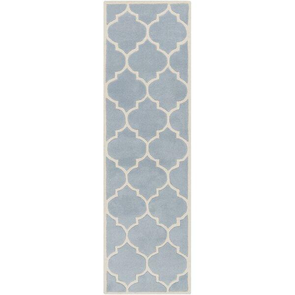 Ayler Geometric Handmade Tufted Wool Blue Area Rug