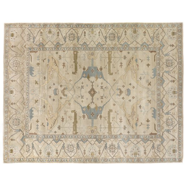 Oushak Hand-Knotted Wool Ivory/Blue Area Rug by Exquisite Rugs