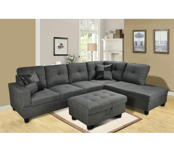 Stylish Delphina Sectional with Ottoman by Ebern Designs by Ebern Designs