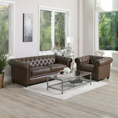 Williston Forge Tufted Chesterfield Living Room Set Upholstery Color Living Room Sets