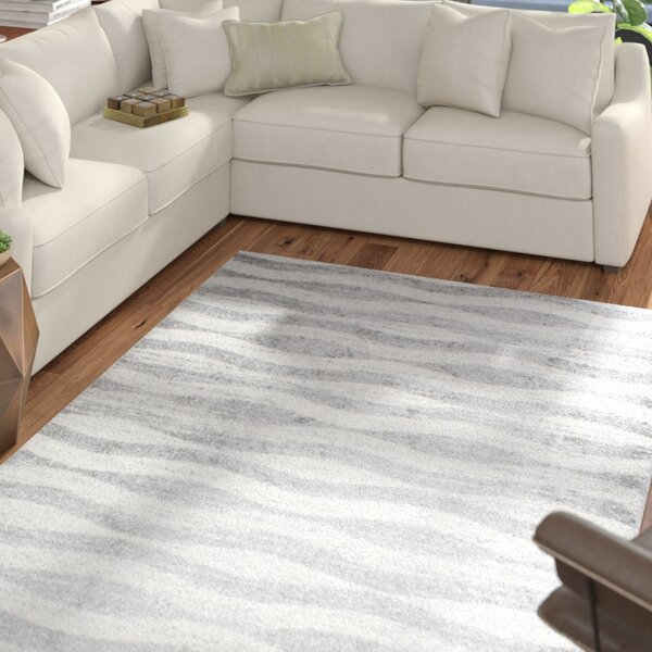 Lada Abstract Waves Gray/White Area Rug by Mercury Row