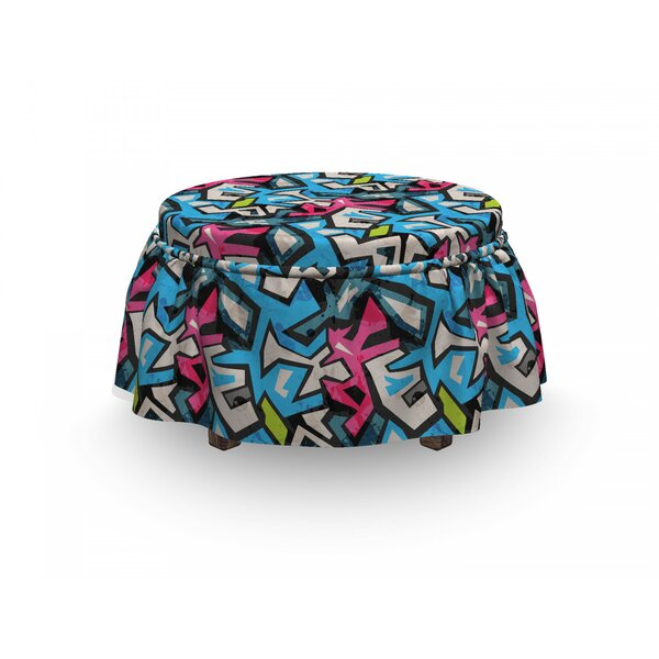 Deals Grunge Street Art Graffiti Funk 2 Piece Box Cushion Ottoman Slipcover Set