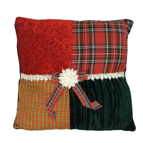 Skyler Square Textured Tartan Plaid Velvet Decorative Christmas Throw Pillow by August Grove