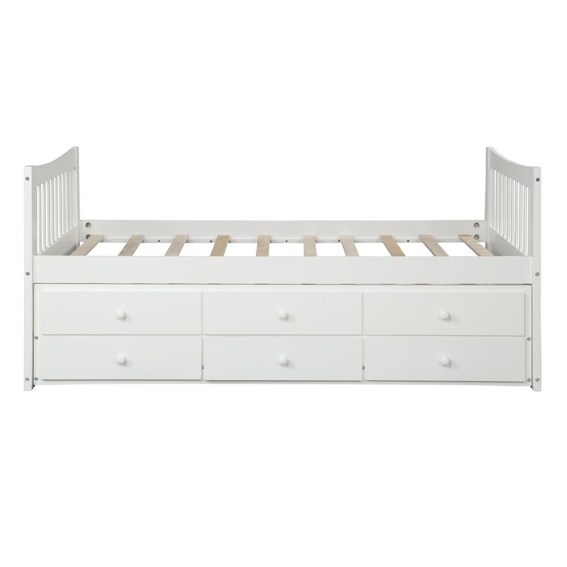 Harriet Bee Clayhatchee Kids Twin Bed With Trundle And Drawers