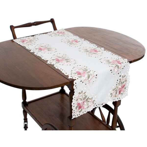 Blush Embroidered Cutwork Table Runner by Manor Luxe