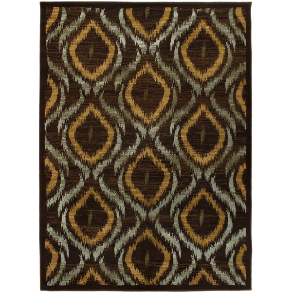 Ikat Dark Brown Abstract Area Rug by ECARPETGALLERY