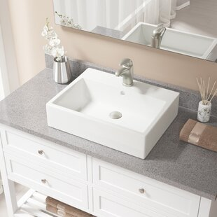 Affordable Vitreous China Rectangular Vessel Bathroom Sink with Faucet and Overflow ByMR Direct