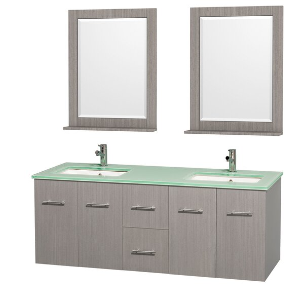 Centra 60 Double Gray Oak Bathroom Vanity Set with Mirror by Wyndham Collection