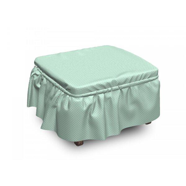 Retro Little Polka Dots 2 Piece Box Cushion Ottoman Slipcover Set By East Urban Home