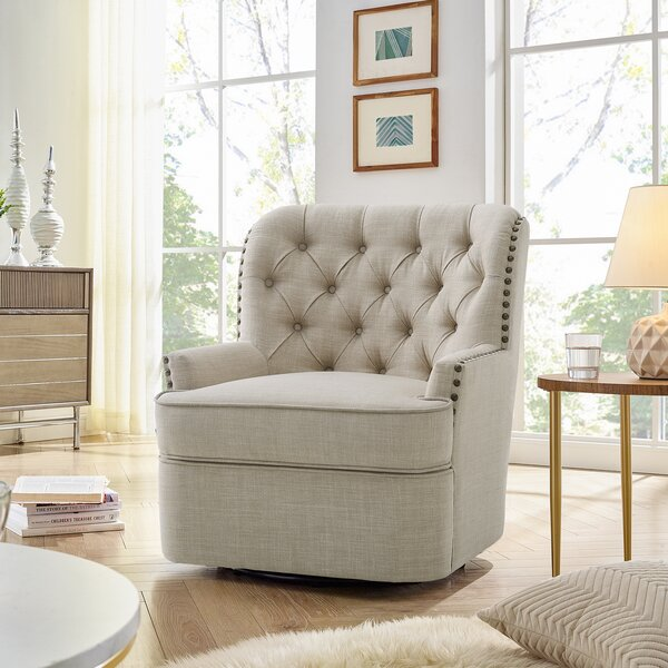 Canas Swivel 28 Inch Wingback Chair By Canora Grey by Canora Grey Comparison
