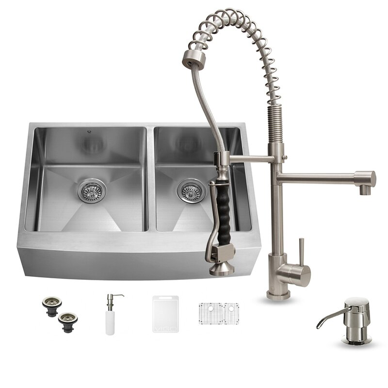 36   x 22   double basin farmhouse kitchen sink with zurich faucet two grids vigo 36   x 22   double basin farmhouse kitchen sink with zurich      rh   wayfair com