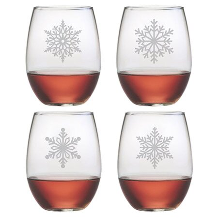 Paper Snowflakes 21 oz. Stemless Wine Glass by Susquehanna Glass