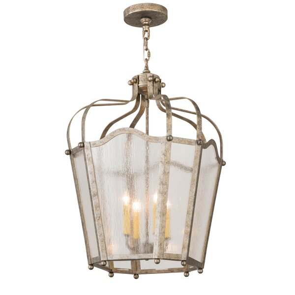 4 - Light Lantern Geometric Chandelier by Meyda Tiffany Meyda Tiffany