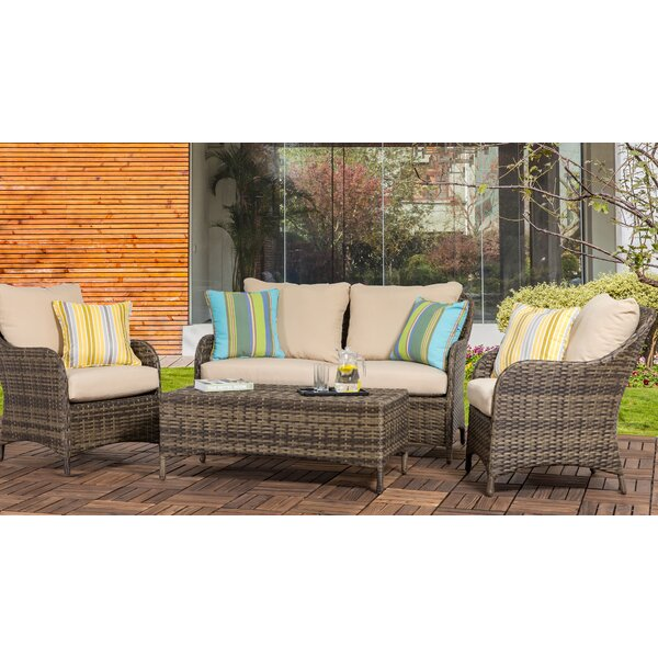 Delacruz 4 Piece Rattan Sofa Seating Group with Cushions by Rosecliff Heights