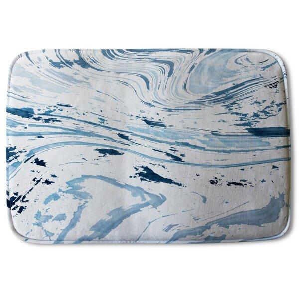 Harrietta Marble Designer Rectangle Non-Slip Bath Rug