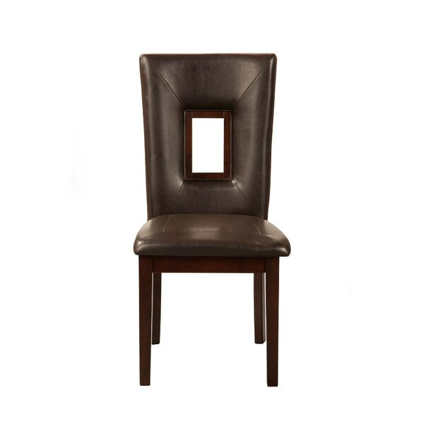 Bharsakal Rubberwood Genuine Leather Upholstered Dining Chair (Set of 2) by Latitude Run