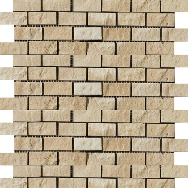 Travertine 1 x 2/12 x 12 Splitface Offset Mosaic in Beige by Emser Tile