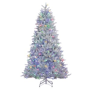 75 silver pine artificial christmas tree with 600 led warm whitemulticolor lights - Silver Christmas Tree