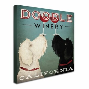 Doodle Wine' by Ryan Fowler Framed Graphic Art Print on Canvas by Trademark Fine Art