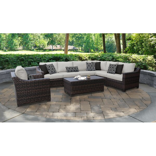River Brook 8 Piece Rattan Sectional Seating Group with Cushions by kathy ireland Homes & Gardens by TK Classics
