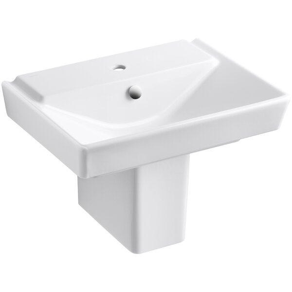 Reve Ceramic 24 Semi Pedestal Bathroom Sink with Overflow by Kohler