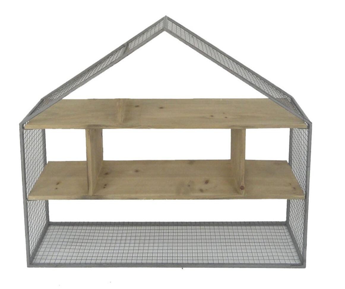 Gracie Oaks Passmore Wood/Metal House Frame Wall Shelf | Wayfair