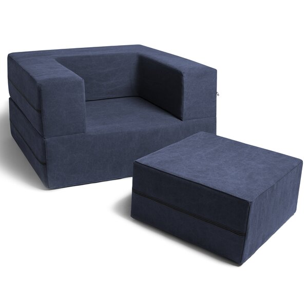 Caudill Convertible Chair and Ottoman by Trule Teen