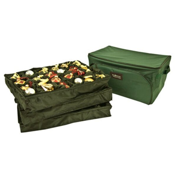 3-Tray Fabric Lined Christmas Ornament Storage Bag