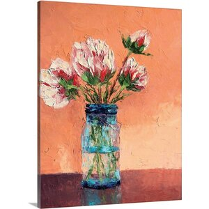 'Peonies in the Mason Jar' by Leslie Saeta Painting Print on Wrapped Canvas by Great Big Canvas