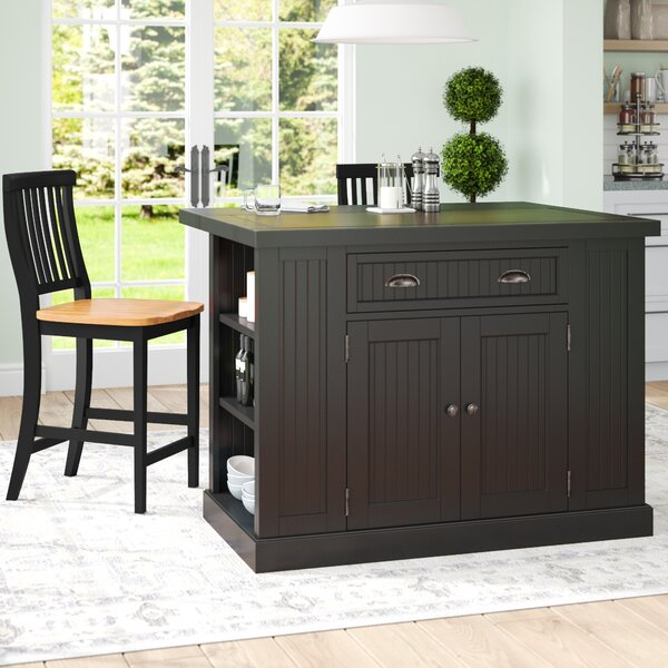 Rabin Kitchen Island with Granite Top by Beachcrest Home