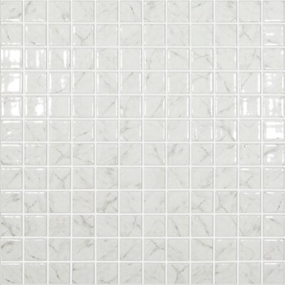 Carrera Traditional 1 x 1 Glass Mosaic Tile in White by Kellani