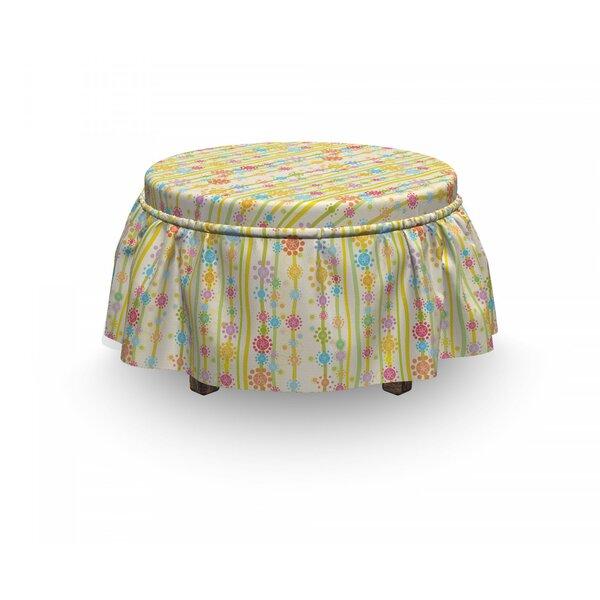 Floral Cartoon 2 Piece Box Cushion Ottoman Slipcover Set By East Urban Home