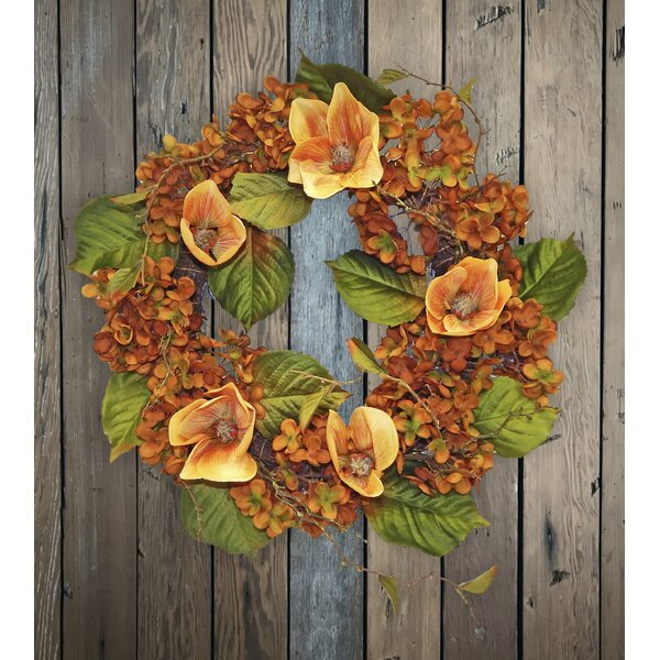 6 Fall Magnolia and Hydrangea Wreath by August Grove