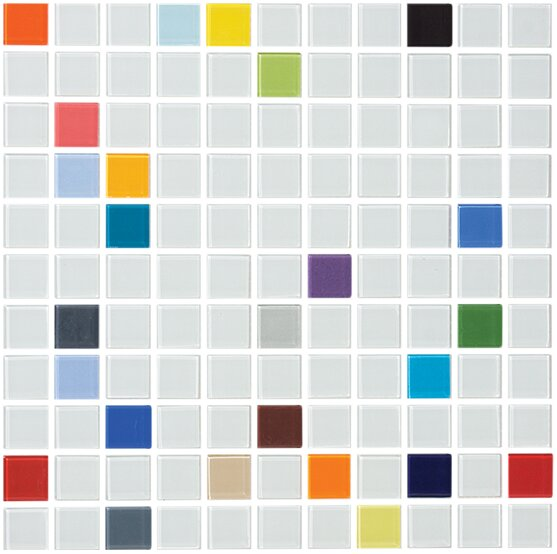 Signature Line 1 x 1 Glass Mosaic Tile in Gray by Susan Jablon