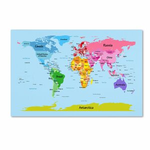 World map canvas kids wayfair world map for kids by michael tompsett graphic art on wrapped canvas gumiabroncs Images