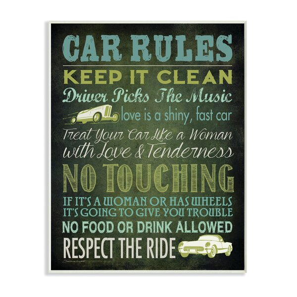 Car Rules Textual Art Wall Plaque by Stupell Industries