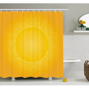Digital Modern Image of the Sun with Sunshine in Cool Circle Pixels Art Shower Curtain Set East Urban Home