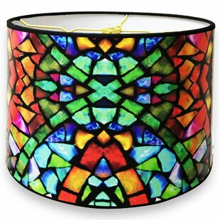 Price Check Mosaic Stained Glass Printed Designer Hard Back 10 Paper Drum Lamp Shade By Ebern Designs