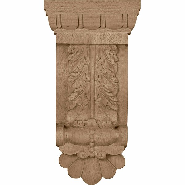 Acanthus 9 3/4H x 5 3/4W x 2 3/4D Thin Flowing Corbel in Lindenwood by Ekena Millwork