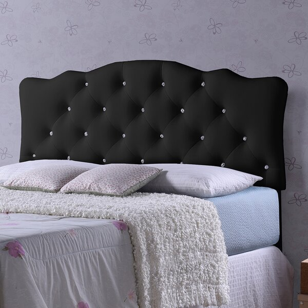 Whidden Black Scalloped Queen Upholstered Panel Headboard by House of Hampton