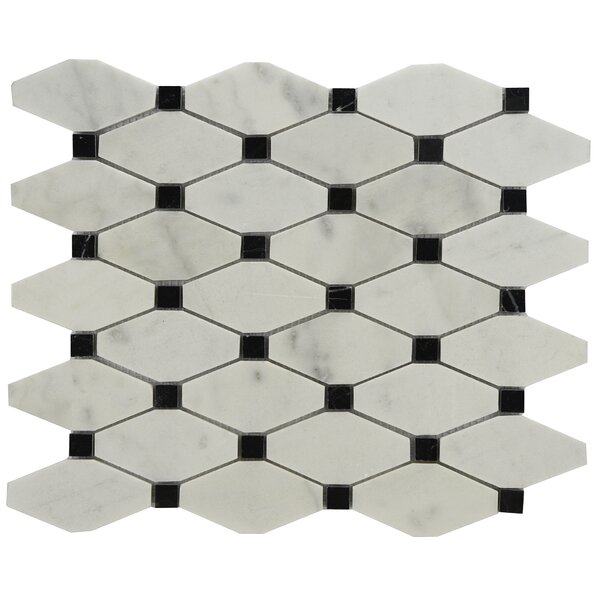 Chevy Marble Tile in Black/White by Byzantin Mosaic