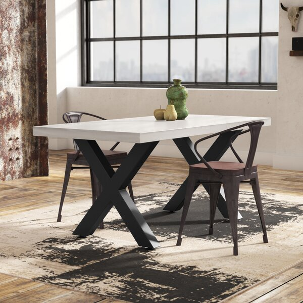 Bodil Concrete Rectangular Dining Table by 17 Stories