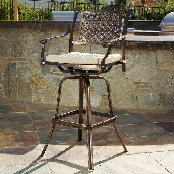 Almira 29.5 Patio Bar Stool with Cushion by Fleur De Lis Living