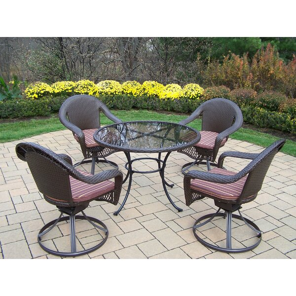 Kingsmill Traditional 5 Piece Dining Set with Cushions by Rosecliff Heights