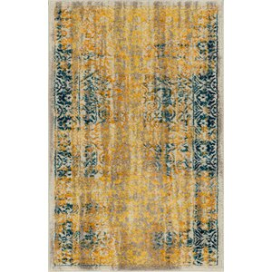 Binstead Traditional Medallion Distressed Power Loom Yellow Area Rug